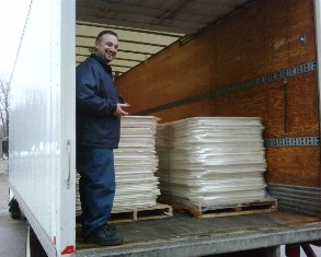 A load of LODE-LOC Cargo Stabilizer /Protection Panels shipping out from Barrie, Ontario, Canada